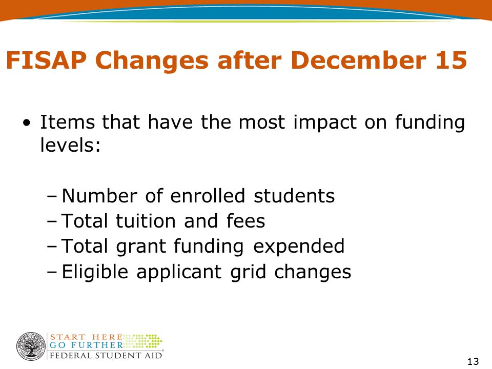 FISAP Changes after December 15 Items that have the most impact on funding levels: –Number of enrolled students –Total tuition and fees –Total grant f