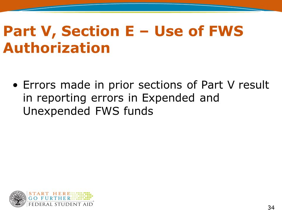 Part V, Section E – Use of FWS Authorization Errors made in prior sections of Part V result in reporting errors in Expended and Unexpended FWS funds 3