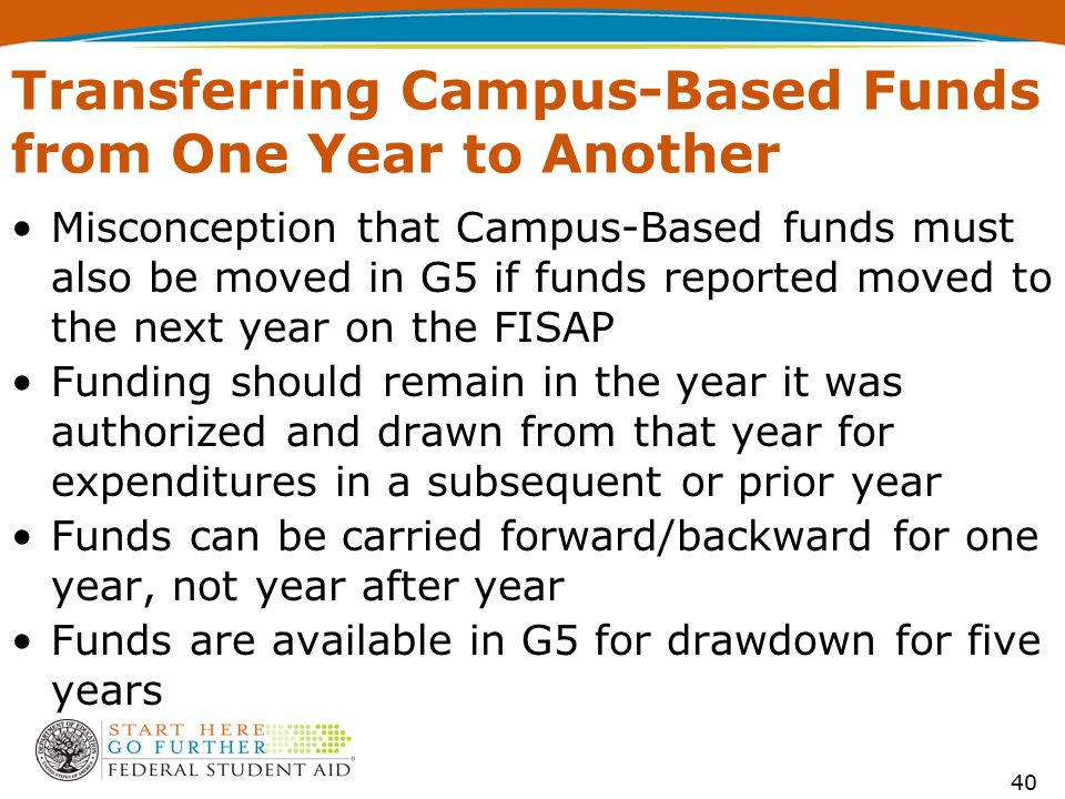 Transferring Campus-Based Funds from One Year to Another Misconception that Campus-Based funds must also be moved in G5 if funds reported moved to the
