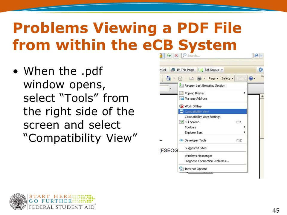 "Problems Viewing a PDF File from within the eCB System When the.pdf window opens, select ""Tools"" from the right side of the screen and select ""Compati"