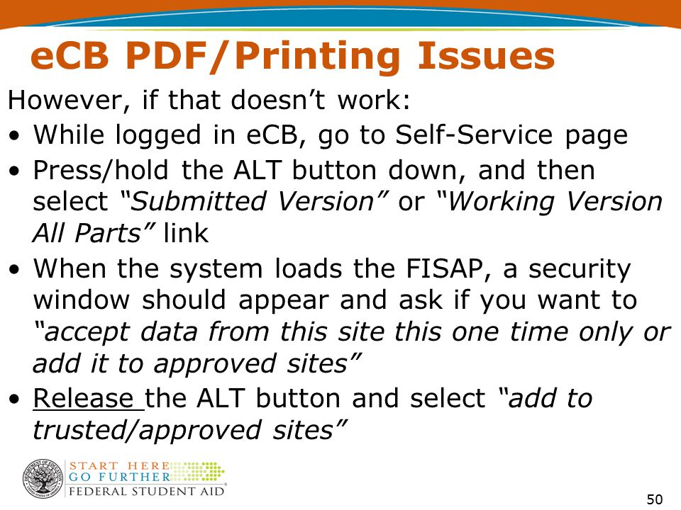 "eCB PDF/Printing Issues However, if that doesn't work: While logged in eCB, go to Self-Service page Press/hold the ALT button down, and then select ""S"