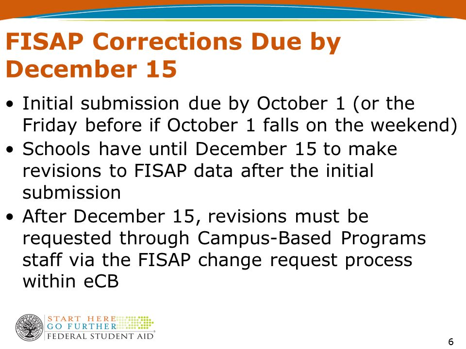 FISAP Corrections Due by December 15 Initial submission due by October 1 (or the Friday before if October 1 falls on the weekend) Schools have until D