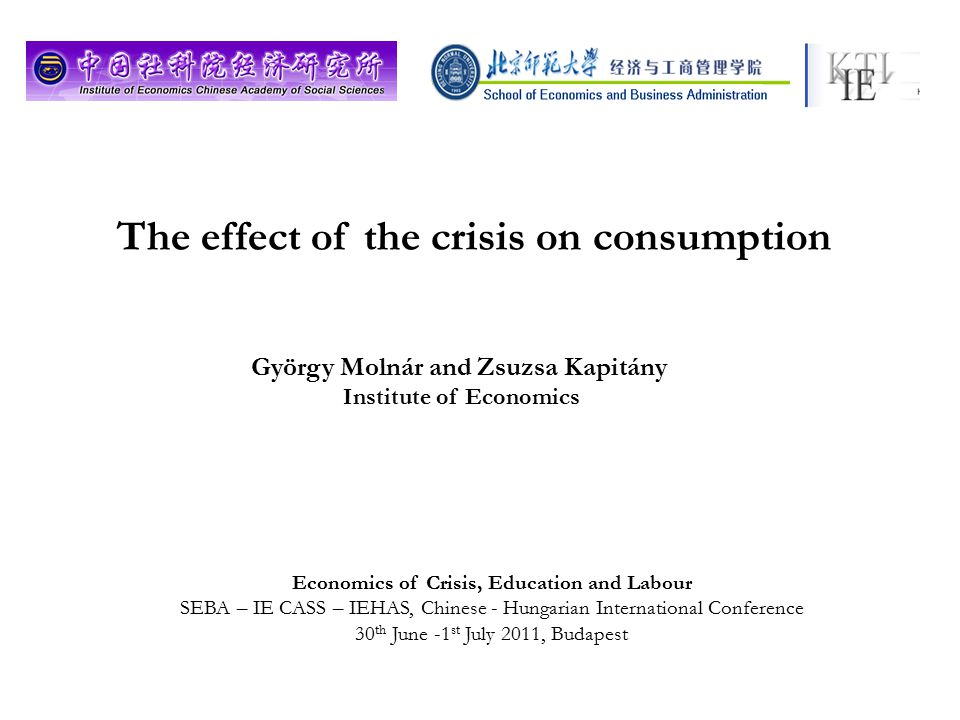 The effect of the crisis on consumption György Molnár and Zsuzsa Kapitány Institute of Economics Economics of Crisis, Education and Labour SEBA – IE CASS – IEHAS, Chinese - Hungarian International Conference 30 th June -1 st July 2011, Budapest
