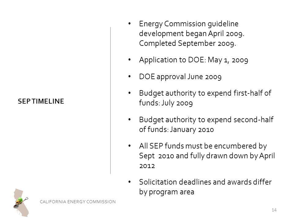 SEP TIMELINE Energy Commission guideline development began April 2009.