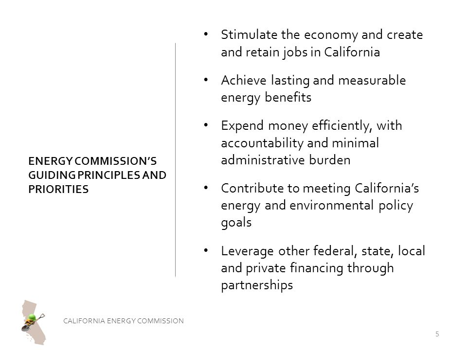 ENERGY COMMISSION'S GUIDING PRINCIPLES AND PRIORITIES Stimulate the economy and create and retain jobs in California Achieve lasting and measurable energy benefits Expend money efficiently, with accountability and minimal administrative burden Contribute to meeting California's energy and environmental policy goals Leverage other federal, state, local and private financing through partnerships CALIFORNIA ENERGY COMMISSION 5