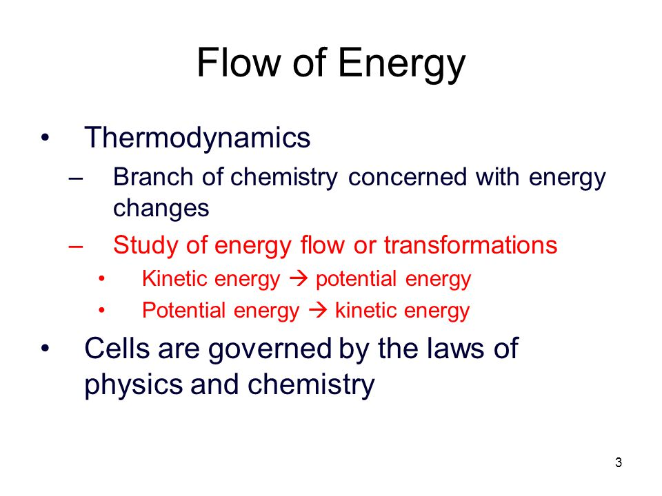3 Flow of Energy Thermodynamics –Branch of chemistry concerned with energy changes –Study of energy flow or transformations Kinetic energy  potential