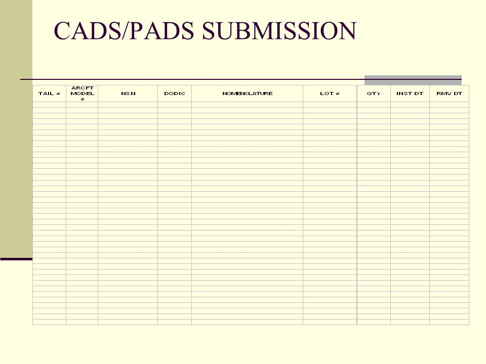 CADS/PADS SUBMISSION