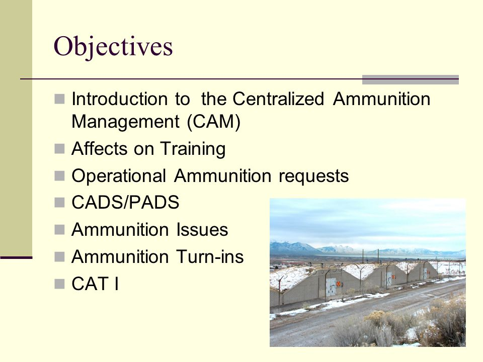 Objectives Introduction to the Centralized Ammunition Management (CAM) Affects on Training Operational Ammunition requests CADS/PADS Ammunition Issues