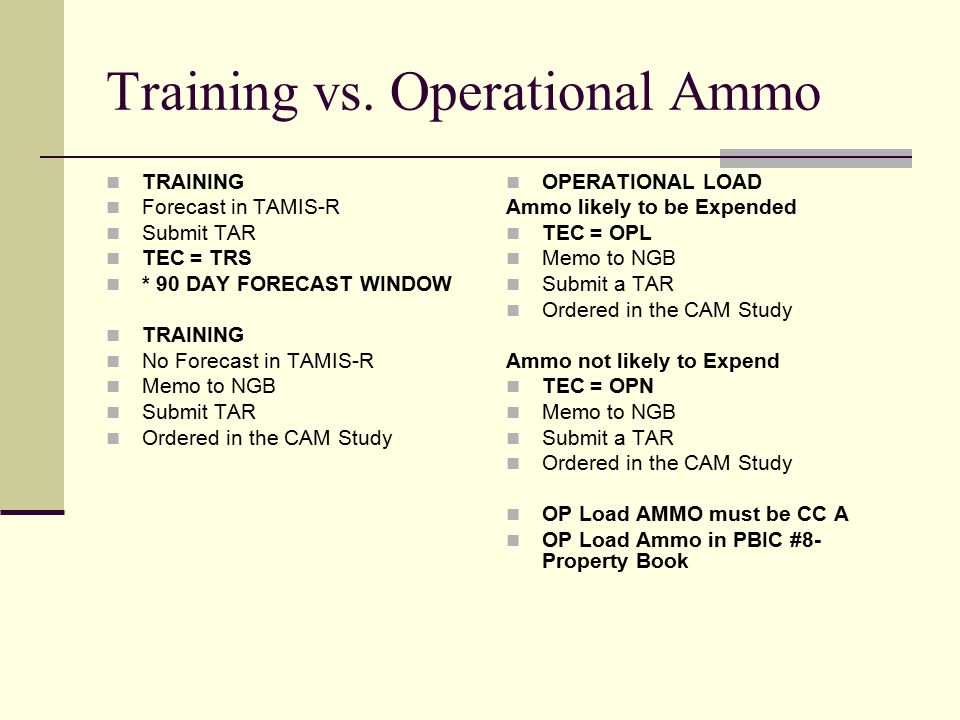 Training vs. Operational Ammo TRAINING Forecast in TAMIS-R Submit TAR TEC = TRS * 90 DAY FORECAST WINDOW TRAINING No Forecast in TAMIS-R Memo to NGB S