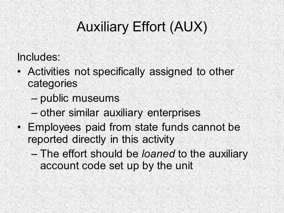Auxiliary Effort (AUX) Includes: Activities not specifically assigned to other categories –public museums –other similar auxiliary enterprises Employe