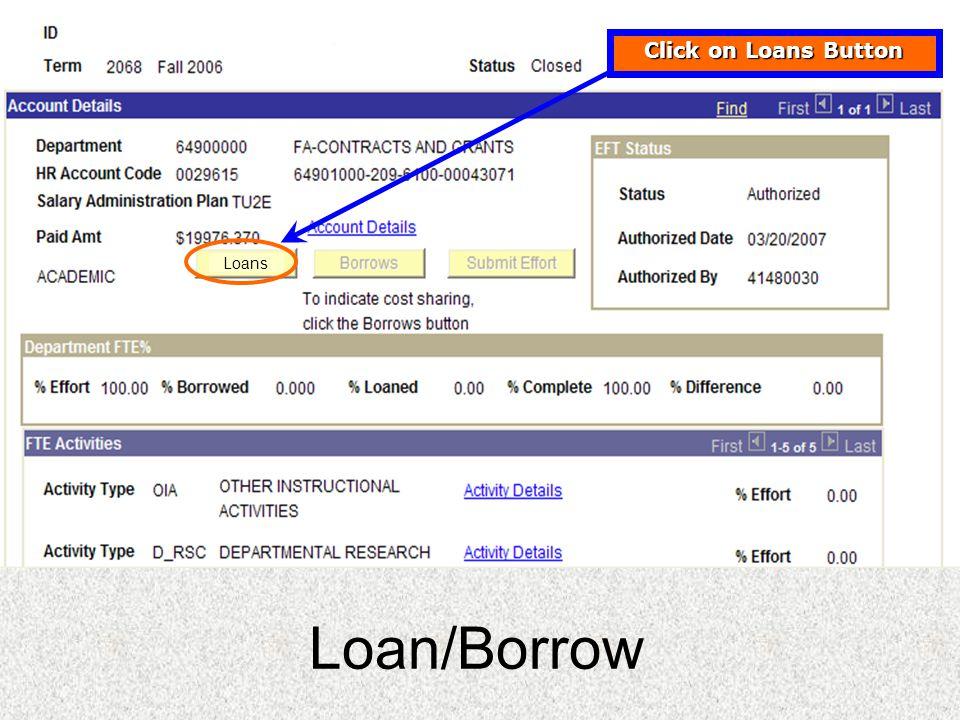 Loans Loan/Borrow Click on Loans Button