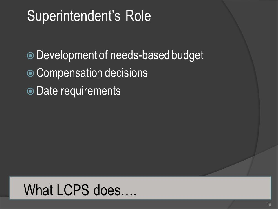 Superintendent's Role 10  Development of needs-based budget  Compensation decisions  Date requirements What LCPS does….