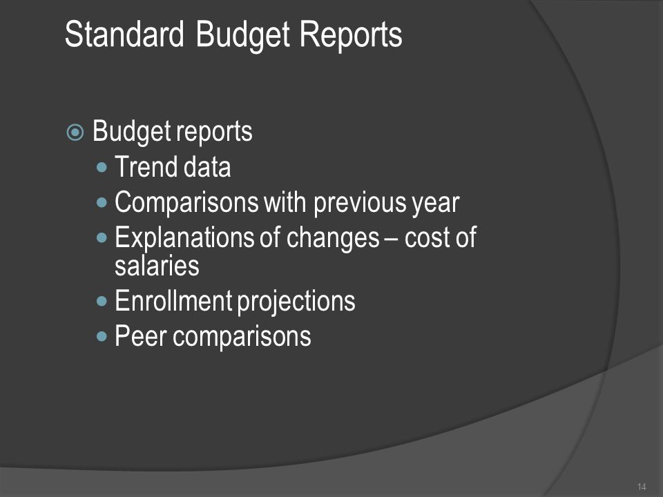 Standard Budget Reports  Budget reports Trend data Comparisons with previous year Explanations of changes – cost of salaries Enrollment projections Peer comparisons 14