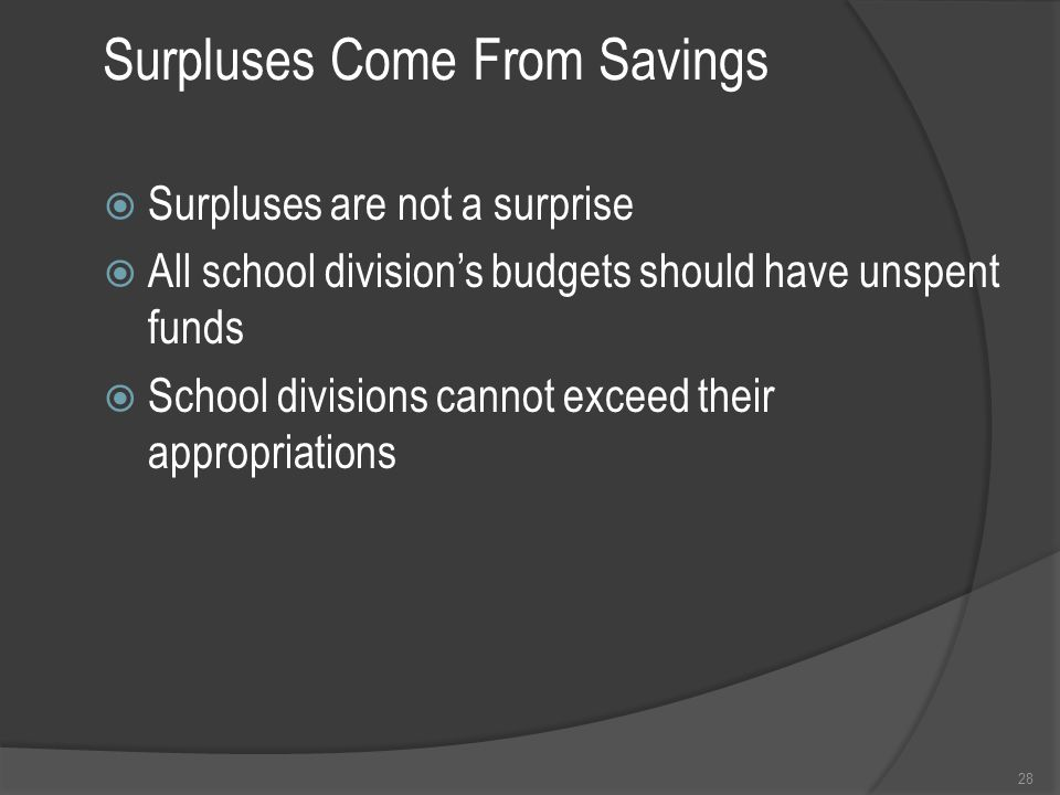 Surpluses Come From Savings  Surpluses are not a surprise  All school division's budgets should have unspent funds  School divisions cannot exceed their appropriations 28