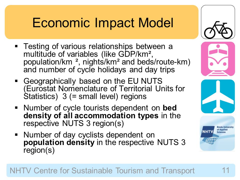NHTV Centre for Sustainable Tourism and Transport 11 Economic Impact Model  Testing of various relationships between a multitude of variables (like GDP/km², population/km ², nights/km² and beds/route-km) and number of cycle holidays and day trips  Geographically based on the EU NUTS (Eurostat Nomenclature of Territorial Units for Statistics) 3 (= small level) regions  Number of cycle tourists dependent on bed density of all accommodation types in the respective NUTS 3 region(s)  Number of day cyclists dependent on population density in the respective NUTS 3 region(s)