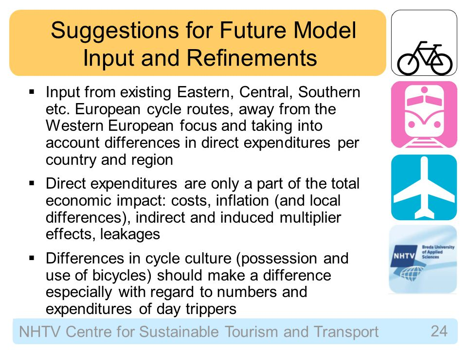 NHTV Centre for Sustainable Tourism and Transport 24 Suggestions for Future Model Input and Refinements  Input from existing Eastern, Central, Southern etc.