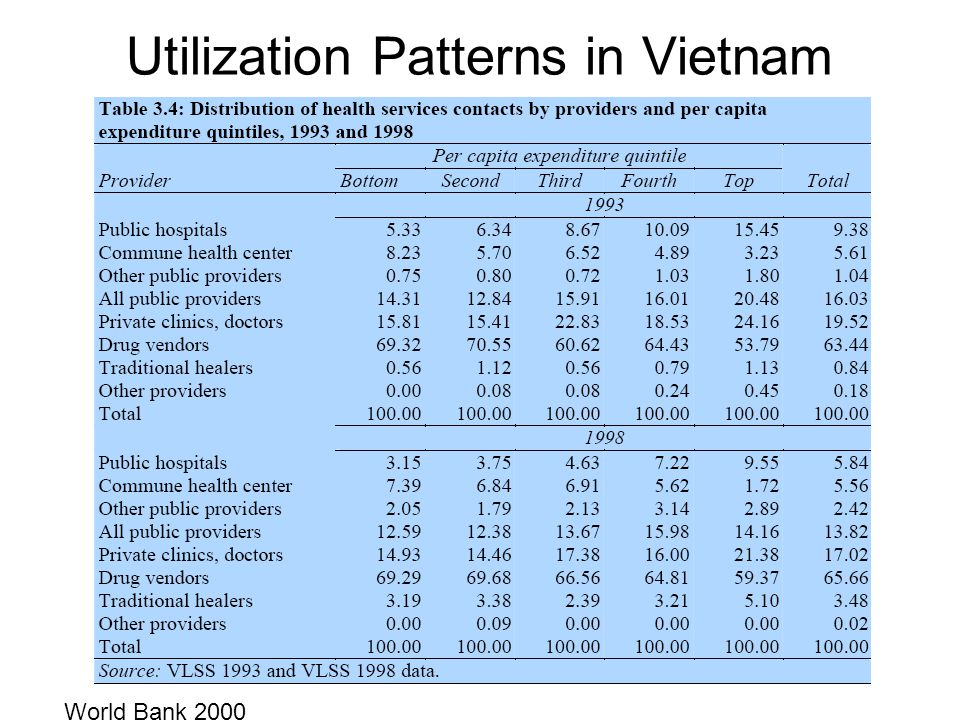 Utilization Patterns in Vietnam World Bank 2000