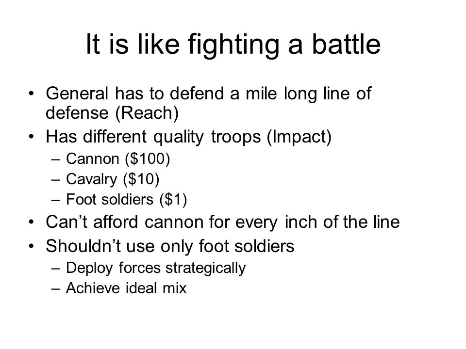 It is like fighting a battle General has to defend a mile long line of defense (Reach) Has different quality troops (Impact) –Cannon ($100) –Cavalry ($10) –Foot soldiers ($1) Can't afford cannon for every inch of the line Shouldn't use only foot soldiers –Deploy forces strategically –Achieve ideal mix