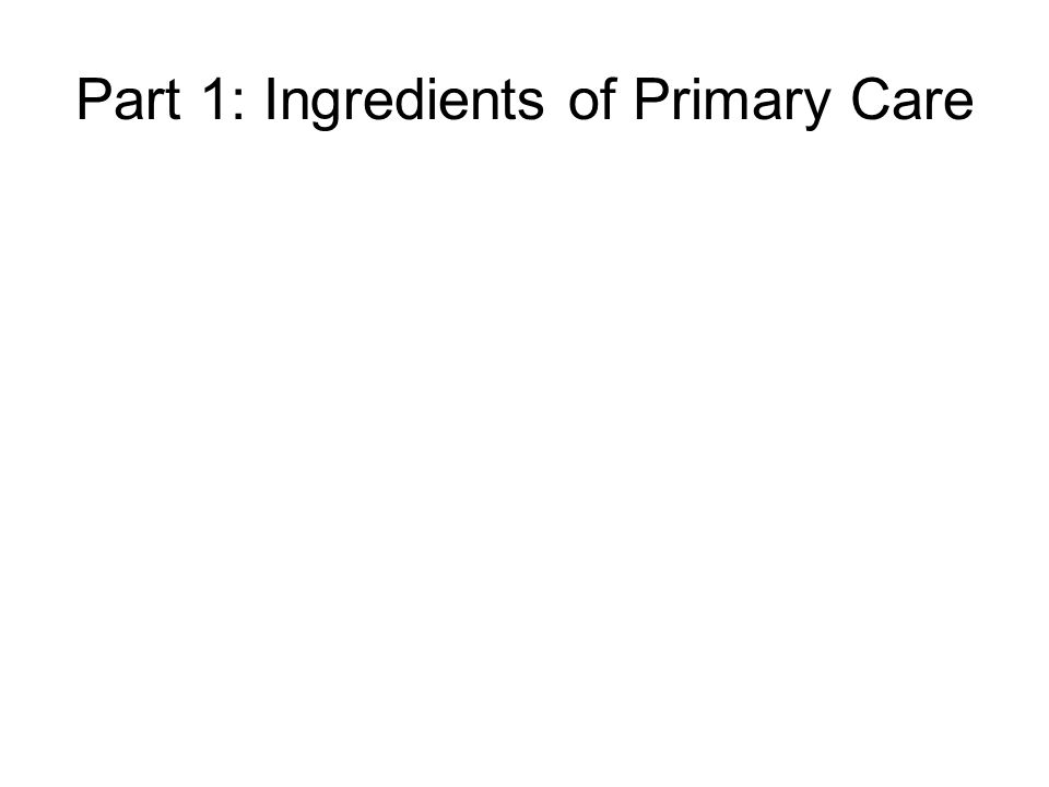 Part 1: Ingredients of Primary Care