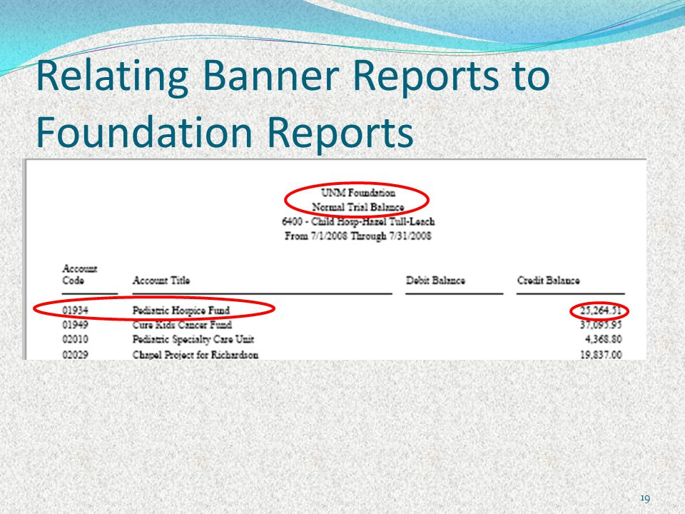 Relating Banner Reports to Foundation Reports 19