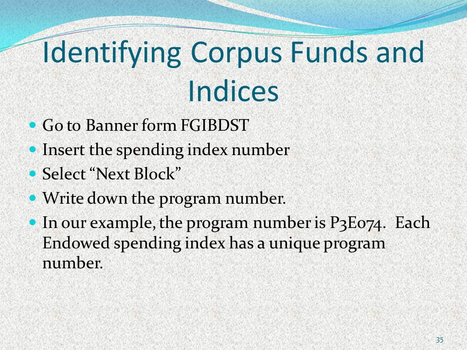 Identifying Corpus Funds and Indices Go to Banner form FGIBDST Insert the spending index number Select Next Block Write down the program number.