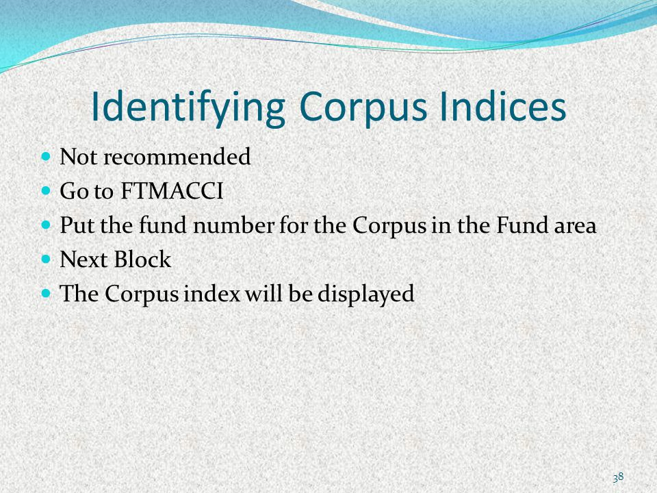 Identifying Corpus Indices Not recommended Go to FTMACCI Put the fund number for the Corpus in the Fund area Next Block The Corpus index will be displayed 38