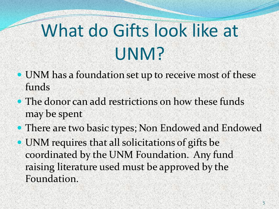 What do Gifts look like at UNM.