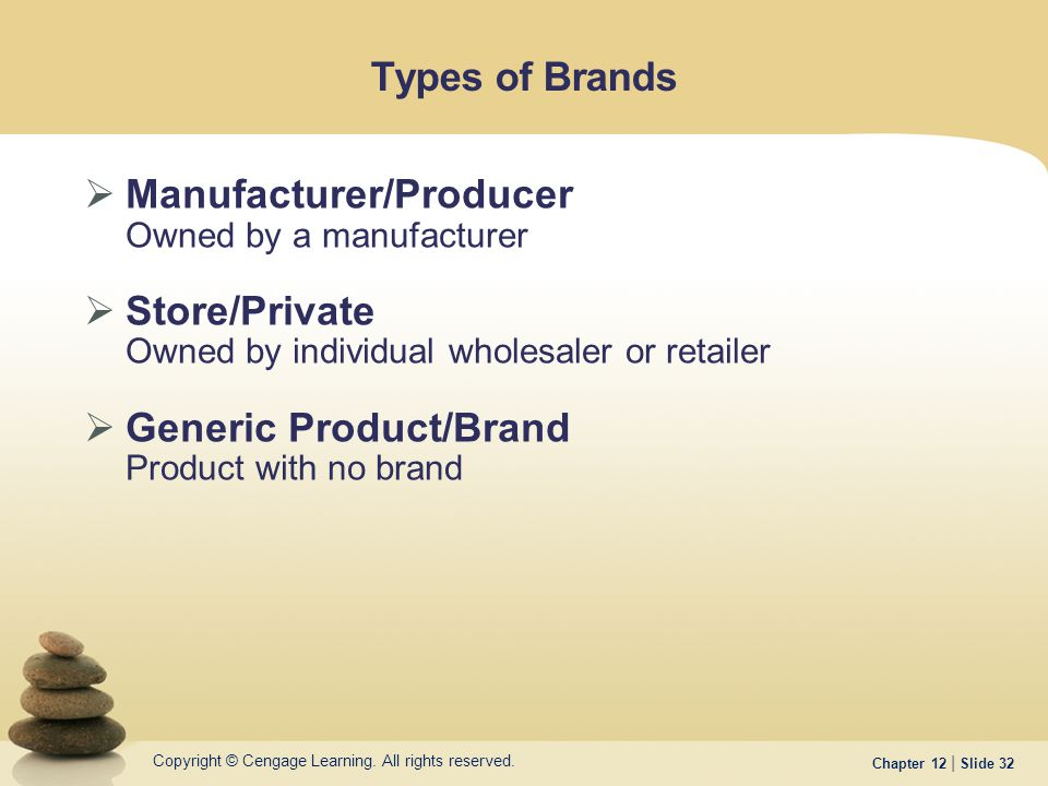Copyright © Cengage Learning. All rights reserved. Chapter 12 | Slide 32 Types of Brands  Manufacturer/Producer Owned by a manufacturer  Store/Priva