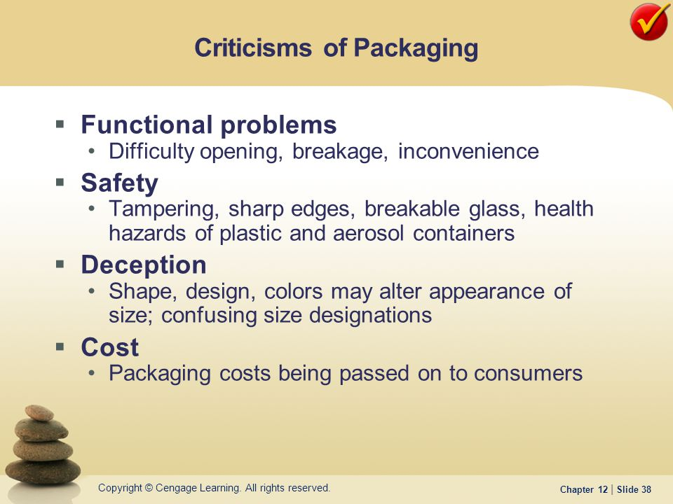 Copyright © Cengage Learning. All rights reserved. Chapter 12 | Slide 38  Functional problems Difficulty opening, breakage, inconvenience  Safety Ta