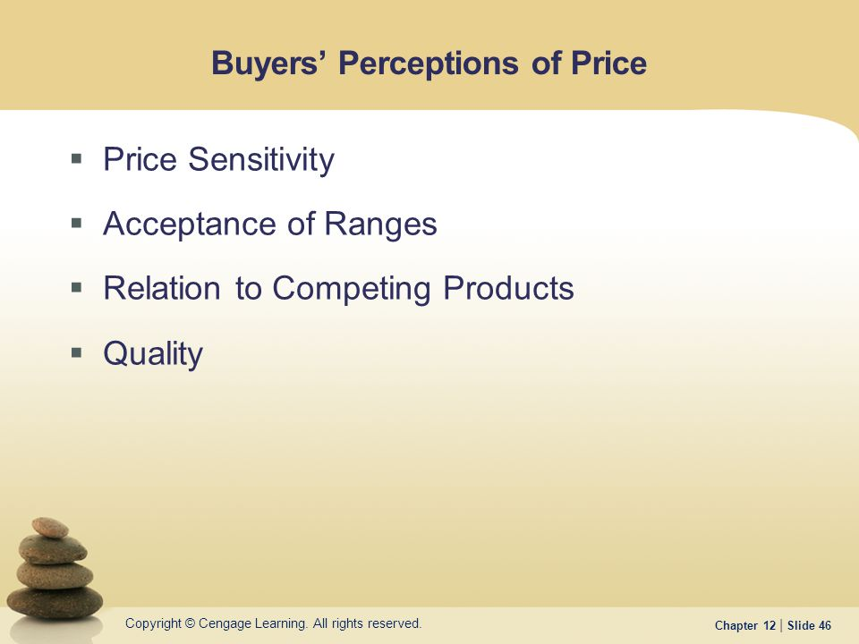 Copyright © Cengage Learning. All rights reserved. Chapter 12 | Slide 46 Buyers' Perceptions of Price  Price Sensitivity  Acceptance of Ranges  Rel