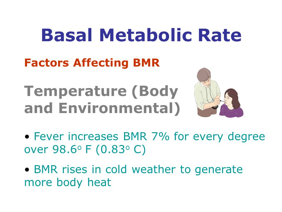 Factors Affecting BMR Temperature (Body and Environmental) Fever increases BMR 7% for every degree over 98.6 o F (0.83 o C) BMR rises in cold weather to generate more body heat Basal Metabolic Rate