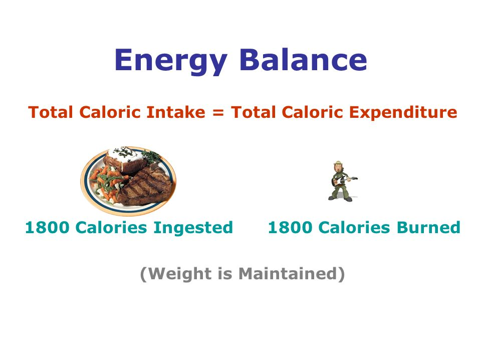 Total Caloric Intake = Total Caloric Expenditure 1800 Calories Ingested 1800 Calories Burned (Weight is Maintained) Energy Balance