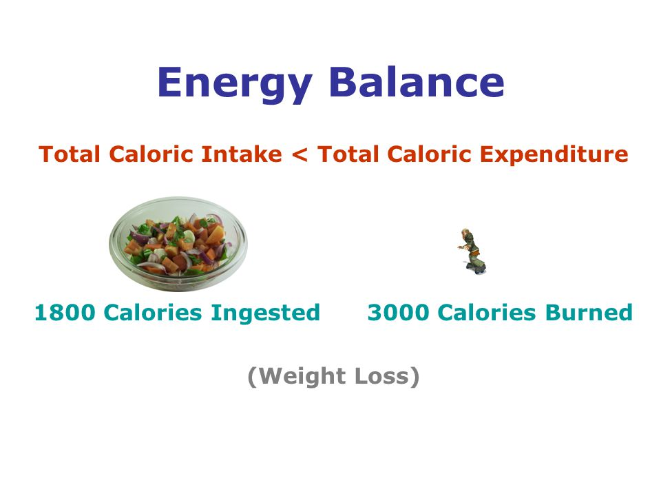 Total Caloric Intake < Total Caloric Expenditure 1800 Calories Ingested 3000 Calories Burned (Weight Loss) Energy Balance