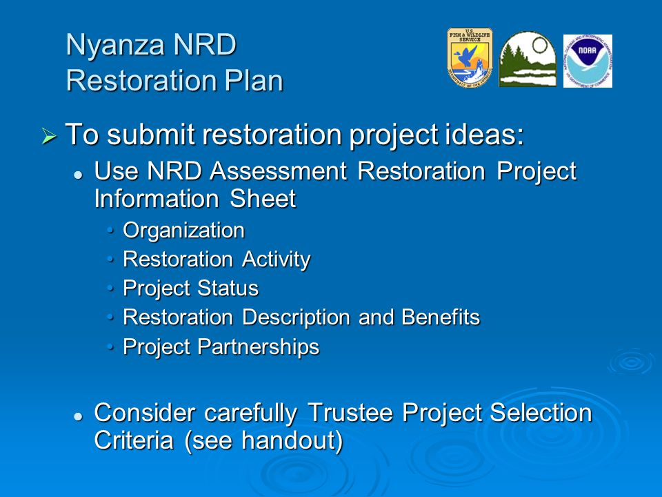 Nyanza NRD Restoration Plan  To submit restoration project ideas: Use NRD Assessment Restoration Project Information Sheet Use NRD Assessment Restoration Project Information Sheet OrganizationOrganization Restoration ActivityRestoration Activity Project StatusProject Status Restoration Description and BenefitsRestoration Description and Benefits Project PartnershipsProject Partnerships Consider carefully Trustee Project Selection Criteria (see handout) Consider carefully Trustee Project Selection Criteria (see handout)
