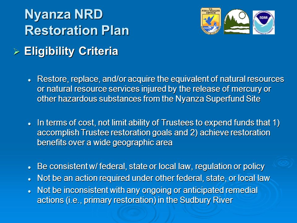 Nyanza NRD Restoration Plan  Eligibility Criteria Restore, replace, and/or acquire the equivalent of natural resources or natural resource services injured by the release of mercury or other hazardous substances from the Nyanza Superfund Site Restore, replace, and/or acquire the equivalent of natural resources or natural resource services injured by the release of mercury or other hazardous substances from the Nyanza Superfund Site In terms of cost, not limit ability of Trustees to expend funds that 1) accomplish Trustee restoration goals and 2) achieve restoration benefits over a wide geographic area In terms of cost, not limit ability of Trustees to expend funds that 1) accomplish Trustee restoration goals and 2) achieve restoration benefits over a wide geographic area Be consistent w/ federal, state or local law, regulation or policy Be consistent w/ federal, state or local law, regulation or policy Not be an action required under other federal, state, or local law Not be an action required under other federal, state, or local law Not be inconsistent with any ongoing or anticipated remedial actions (i.e., primary restoration) in the Sudbury River Not be inconsistent with any ongoing or anticipated remedial actions (i.e., primary restoration) in the Sudbury River