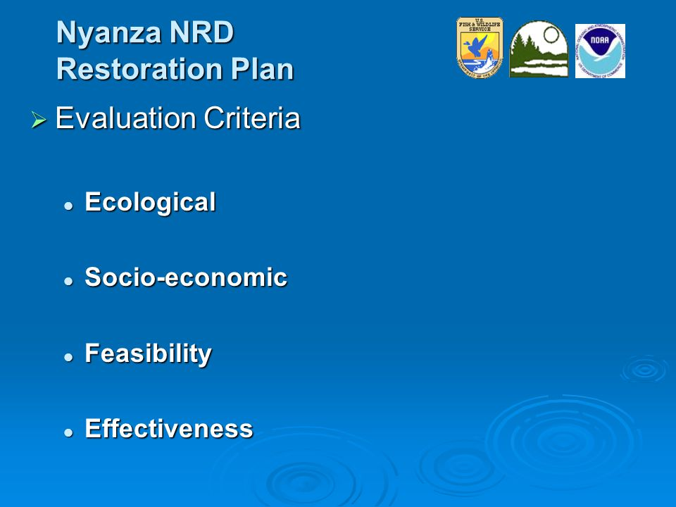 Nyanza NRD Restoration Plan  Evaluation Criteria Ecological Ecological Socio-economic Socio-economic Feasibility Feasibility Effectiveness Effectiveness