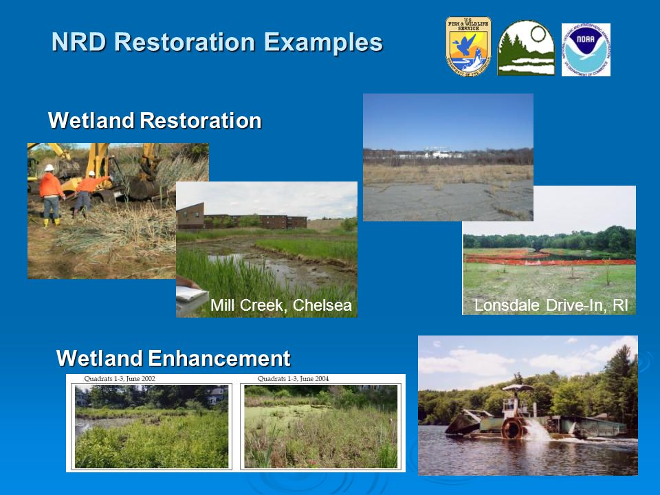 NRD Restoration Examples Wetland Restoration Wetland Enhancement Mill Creek, ChelseaLonsdale Drive-In, RI