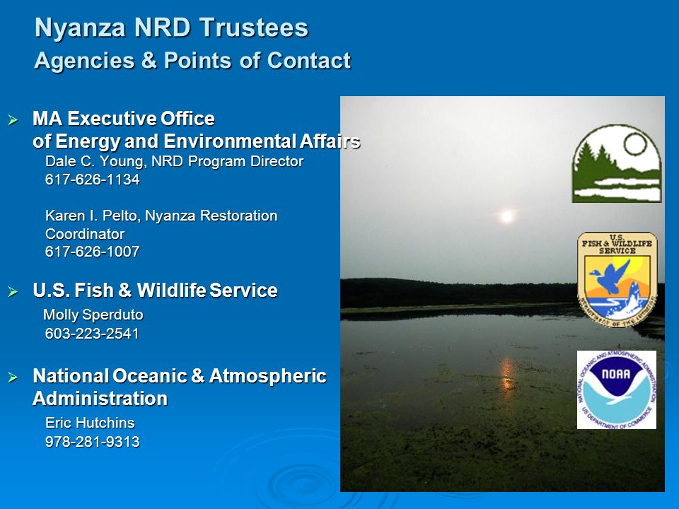 Nyanza NRD Trustees Agencies & Points of Contact  MA Executive Office of Energy and Environmental Affairs Dale C.