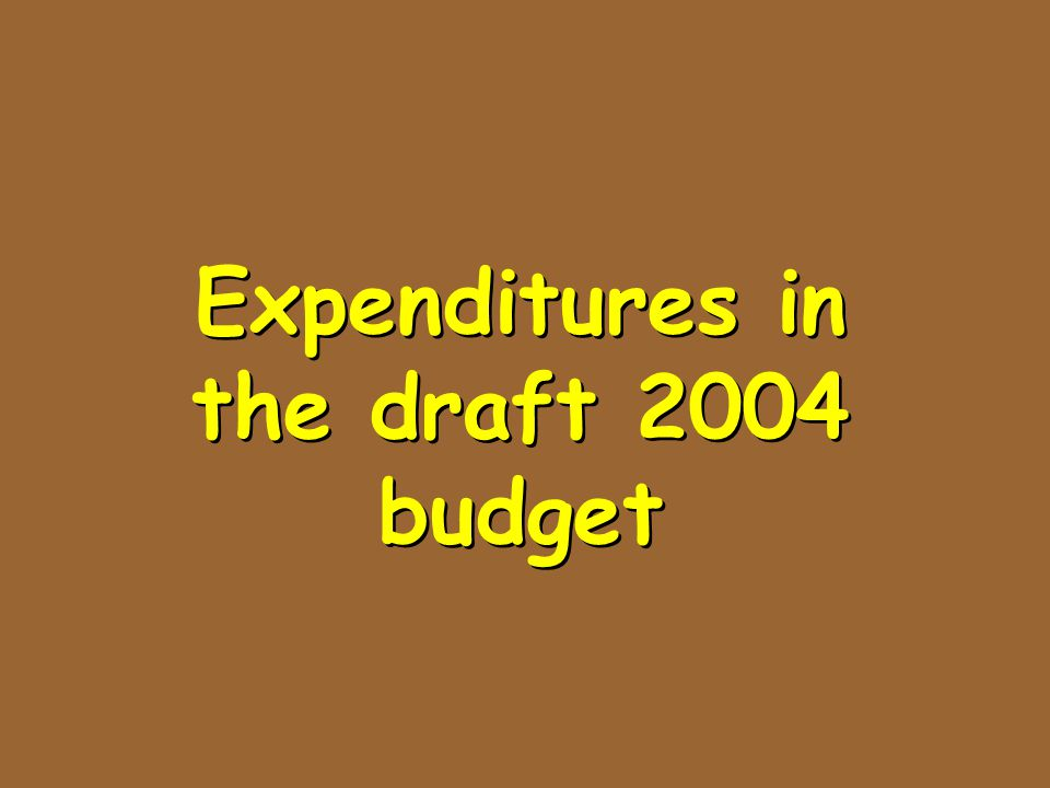 Expenditures in the draft 2004 budget