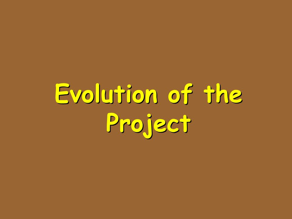 Evolution of the Project