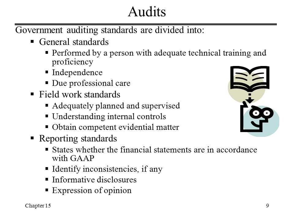 Chapter 1530 Reports of Single Audits  Report on compliance and on internal controls: -Directed towards the basic financial statements -Based on audit requirements Governmental Auditing Standards -Include any material weaknesses in the controls  Report on compliance with the requirements of major programs: -Explain the nature of the examination -Auditors express an opinion -Include any reportable conditions  Schedule of findings and questioned costs: -Most distinctive and informative -Summary of the results -Describe reportable conditions -Include findings pertaining to major programs