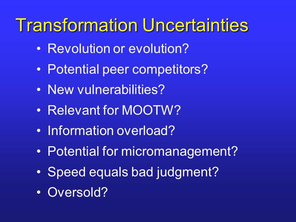 Transformation Uncertainties Revolution or evolution.
