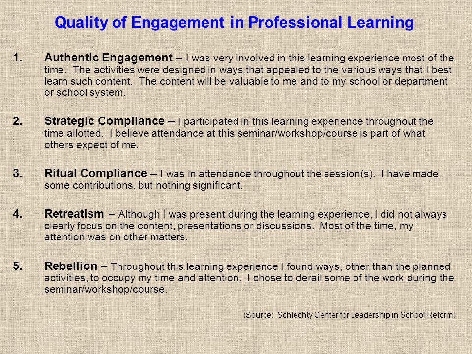 Quality of Engagement in Professional Learning 1.Authentic Engagement – I was very involved in this learning experience most of the time.