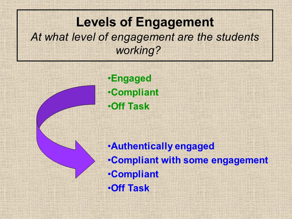 Levels of Engagement At what level of engagement are the students working.