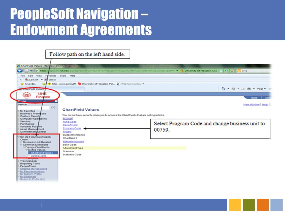I PeopleSoft Navigation – Endowment Agreements