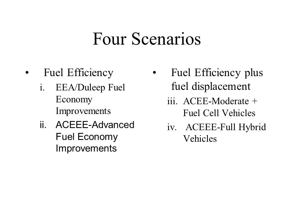 Four Scenarios Fuel Efficiency i.EEA/Duleep Fuel Economy Improvements ii.ACEEE-Advanced Fuel Economy Improvements Fuel Efficiency plus fuel displacement iii.ACEE-Moderate + Fuel Cell Vehicles iv.