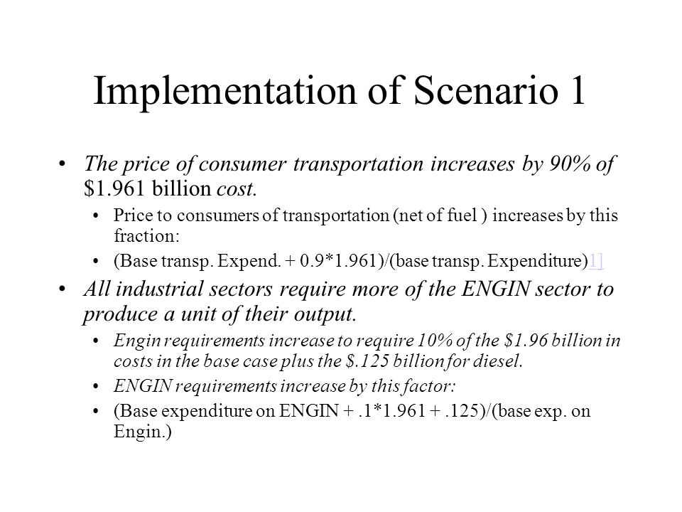 Implementation of Scenario 1 The price of consumer transportation increases by 90% of $1.961 billion cost.
