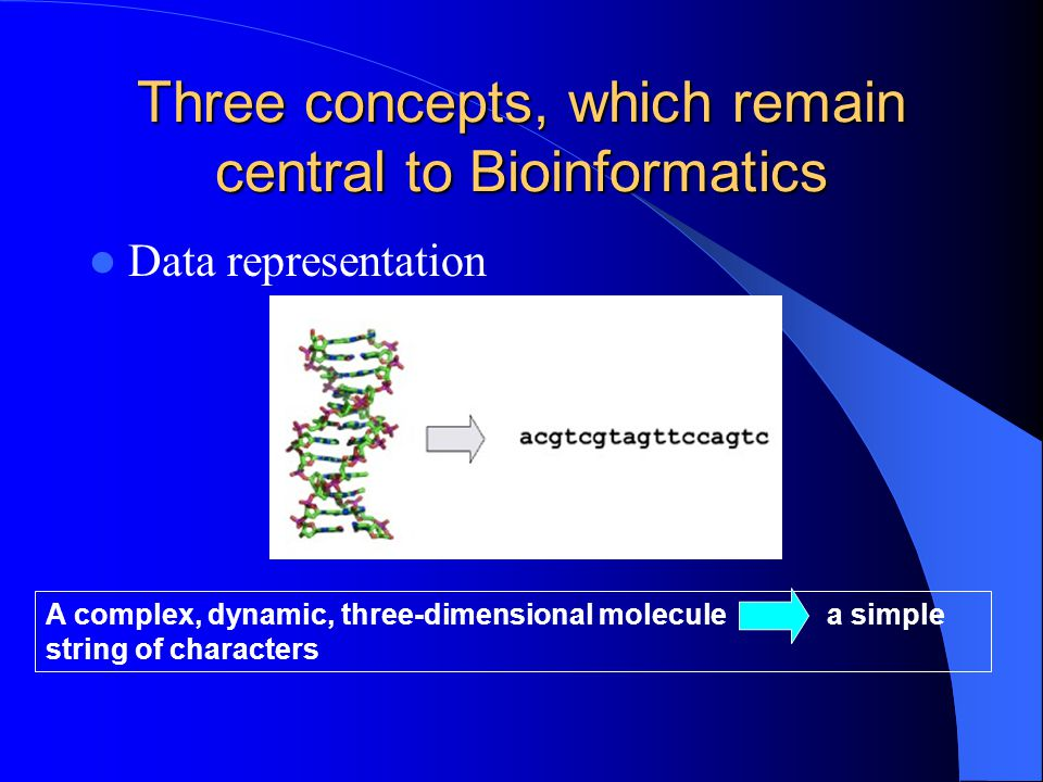 Three concepts, which remain central to Bioinformatics The concept of similarity – Evolution has operated on every sequence – In biomolecular sequences (DNA, RNA or amino acid sequences).