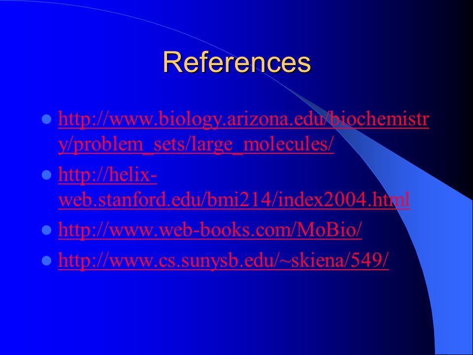 References http://www.biology.arizona.edu/biochemistr y/problem_sets/large_molecules/ http://www.biology.arizona.edu/biochemistr y/problem_sets/large_