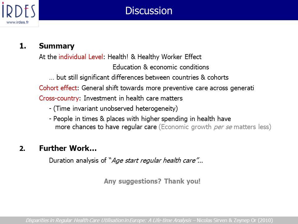 1. Summary At the individual Level: Health.